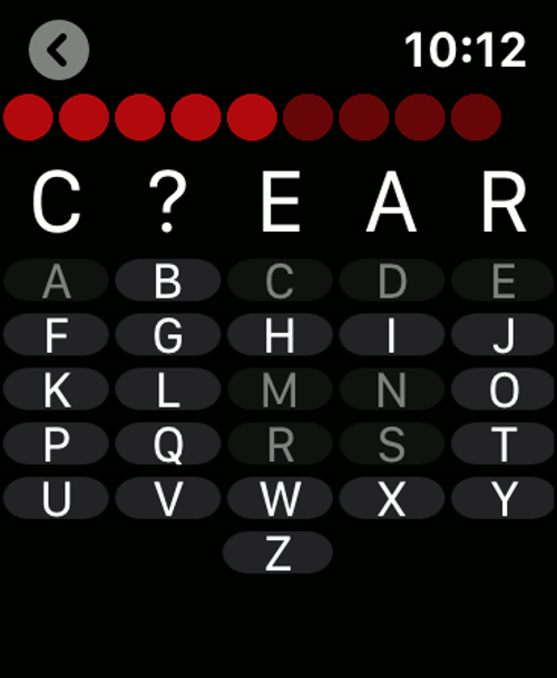 Imagen en miniatura del juego Ahorcado Wear — Juego reloj