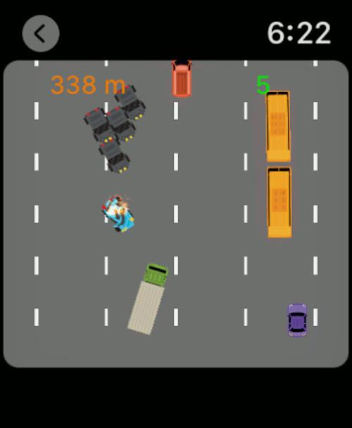 Imagen en miniatura del juego Let Off. Intenta escapar de tus perseguidores en este juego de carreras para Apple Watch